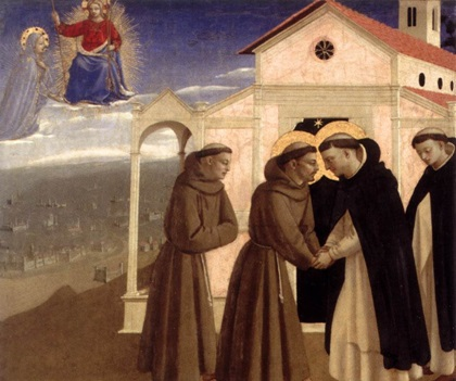 Beato Angelico, Incontro di S. Francesco d'Assisi e S. Domenico, Gemaldegalerie, Berlino